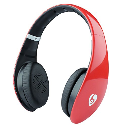 On-Ear Headphones for Girls/Woman, Bluetooth Wireless Stereo Headsets with Built-in Mic,Soft Earmuff,Support Micro SD Card Music Play and FM Radio for iPhone Samsung Cell Phone – Red