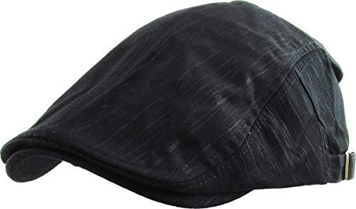 (KBM-107 BLK Solid Cotton Denim Newsboy Ivy Cabbie Adjustable Hat Cap)