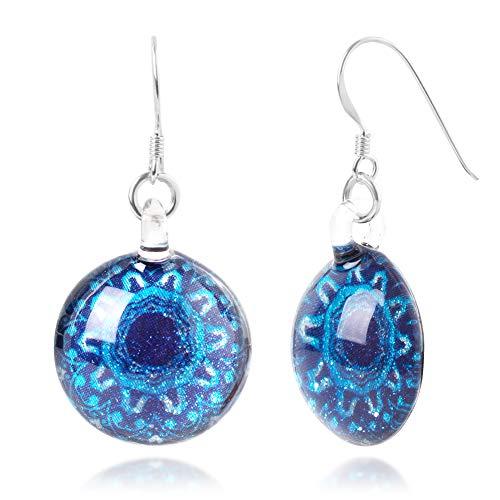 (Sterling Silver Hand Blown Venetian Murano Glass Blue Mandala Flower Round Dangle Earrings)