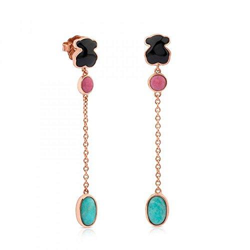 TOUS Motif Onyx, Rhondonite and Amazonite Drop Earrings