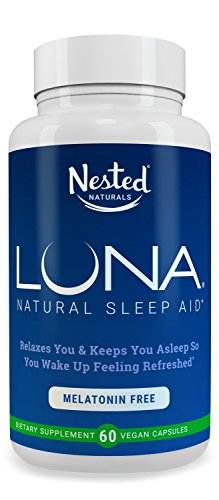 LUNA Melatonin-Free | 60 Capsules | Natural Sleep Aid Without Melatonin | Valerian, Chamomile Extract, Lemon Balm + More Herbs With No GMOs | Non Habit Forming Herbal Sleeping Pills | Vegan Supplement