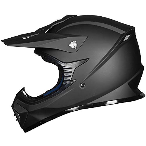 ILM Adult ATV Motocross Dirt Bike Motorcycle BMX MX Downhill Off-Road MTB Mountain Bike Helmet DOT Approved (MATTE BLACK, Adult-XL)