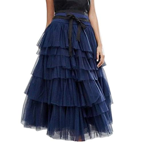 Evening Dress Women nikunLONG Tulle Skirt Vintage Colorful Tutu Mesh Petticoat Ball Gown Skirt Party Club Skirt Navy