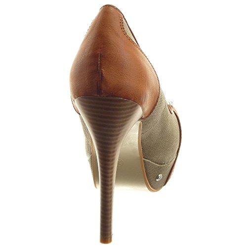 Sopily - Scarpe da Moda scarpe decollete Stiletto Zeppe alla caviglia donna borchiati metallico Tacco Stiletto tacco alto 12.5 CM - Khaki