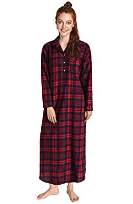 Latuza Women's Plaid Flannel Nightgowns Full Length Sleep Shirts