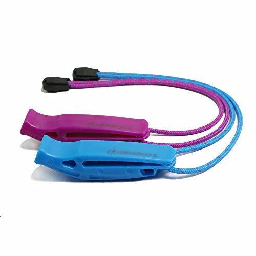 (HEIMDALL Emergency Survival Whistle with Lanyard (2 Pack) for Safety Boating Camping Hiking Hunting Rescue Signaling (Blue, Purple).)