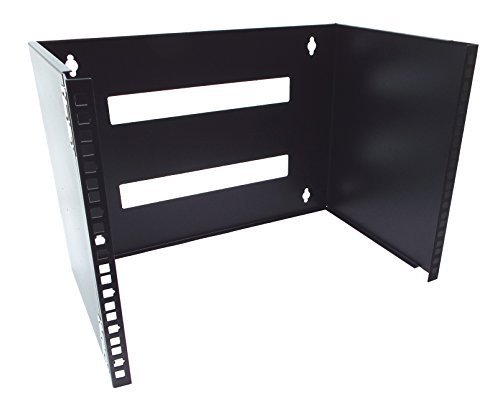 (CNAWEB 7U 19-Inch Hinged Network Wall Mount Equipment Rack Bracket - Black)