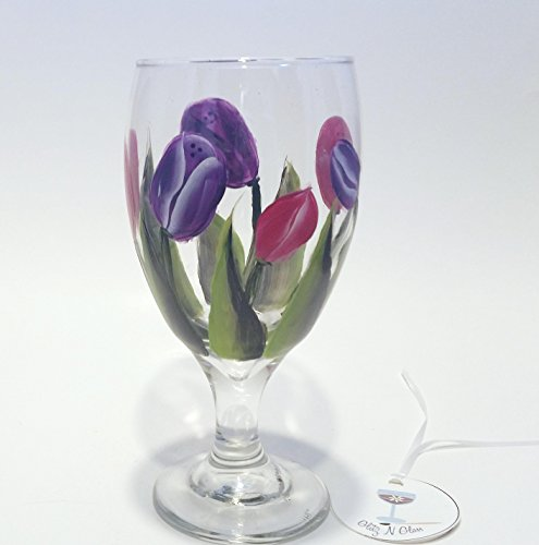 Goblet Painted Hand - Hand Painted Glass Goblet With Pink And Purple Tulips