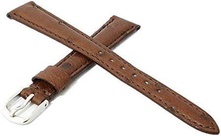 日本製 国内生産 職人によるハンドメイド腕時計ベルト 9mm 高級皮革オーストリッチ(ダチョウ革) ダークブラウン 時計バンド シルバー尾錠 Made in Japan OS2-9S