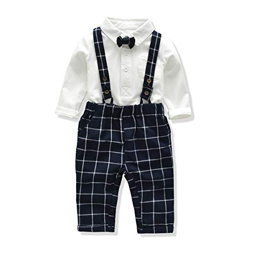 FERENYI US Baby Boys Bowtie Gentleman Romper Jumpsuit Overalls Rompers (7-12 Months, White ()