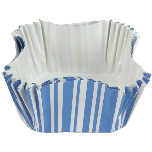 Creative Converting 12 Count Striped Square Baking Cups, True Blue