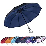 NewSight One-Touch Automatic Folding Umbrella – Dual Layers, Less UV Rays, Alloy Frame, 10 Fiberglass Ribs, Windproof, One-Touch Open & Close, Ergonomic Handle, Water Repellent, with Pouch