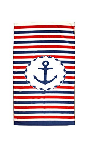 (posh home Super Soft USA Theme Cotton Printed Beach Towel (Patriotic Anchor) )