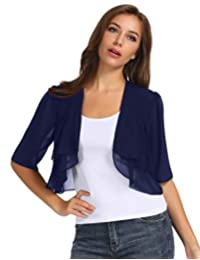 KANCY KOLE Women Chiffon Open Front 3/4 Sleeve Sheer Shrug Cropped Bolero Cardigan