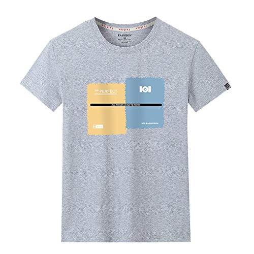 LEKODE Men's T-Shirt Handsome Casual Tee Fashion Printing Patchwork Short Sleeve Tops(Gray,8)