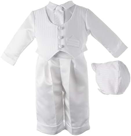 Lauren Madison Baby boy Christening Baptism Infant Satin Vest Set with Pant
