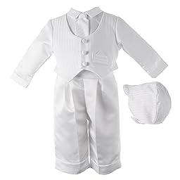 Lauren Madison baby boy Christening Baptism Infant Satin Vest Set with Pant, White, 18 Months