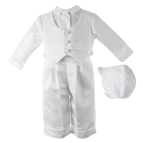Lauren Madison baby boy Christening Baptism Infant Satin Vest Set with Pant, White, 9-12 Months