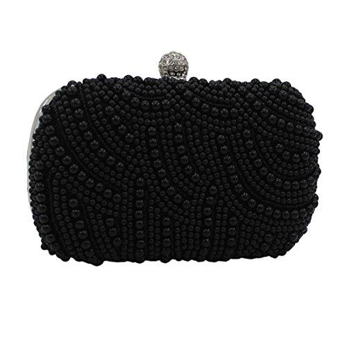 Lawevan® Mujer L16cm * H10cm * W4cm Caja de embrague Bolsa Una cubierta lateral con perlas de noche Bolsa de boda de embrague Negro