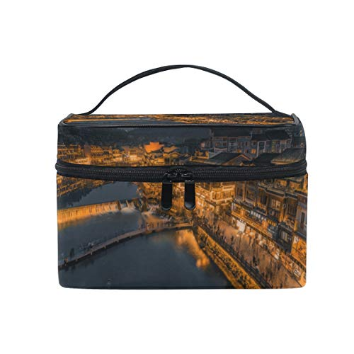 MONTOJ Ancient City Night View makeup bags Cosmetic Bags