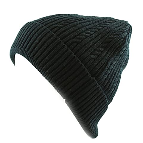 The Hat Depot 200h Unisex Light Weight Chunky Cable Classic Solid Knit Beanie Ha (BLACK) - Black Classic Knit Beanie