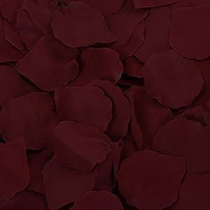Koyal Wholesale Silk Rose Petals Confetti, Burgundy, Bulk 1200-Pack Wedding Flowers Table Scatter, Rose Petal Aisle Runner 19