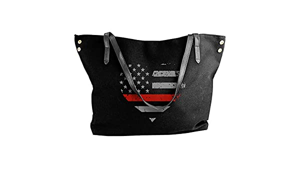 Thin Red Line Halligan Firefighter Canvas Shoulder Bags HandbagDaily For Women Black