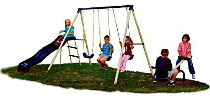 Amazon Com Flexible Flyer Triple Fun Swing Set Sports Outdoors