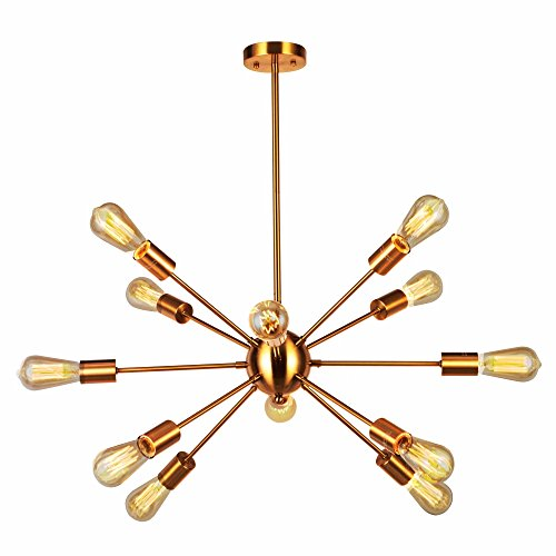 Round Twelve Light Chandelier - VINLUZ Modern Sputnik Chandelier 12 Light Brushed Brass Mid Century Pendant Lighting Rustic Ceiling Lights Fixtures for Dinning Room Kitchen Foyer