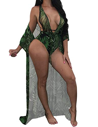 - Sexy Printed Green 3 Piece V Neck Swimsuit Set Long Swimwear Cover up