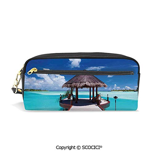 - Fasion Pencil Case Big Capacity Pencil Bag Makeup Pen Pouch Jetty and The Ocean View on Tropical Caribbean Island Beach Resort Image Durable Students Stationery Pen Holder for School