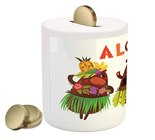Ambesonne Island Party Piggy Bank, Aloha Typography with Funny Cute Bears in Hawaiian Costume Dancing in Music, Printed Ceramic Coin Bank Money Box for Cash Saving, -