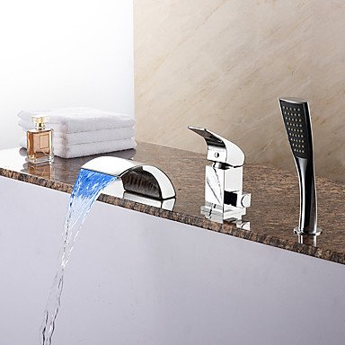 SHILIYOUPIN Bathroom faucet£¬ Modern Tub LED/Waterfall/Handshower Included with Ceramic Valve 1-Handle 3-Holes for Chrome Bathtub Faucet