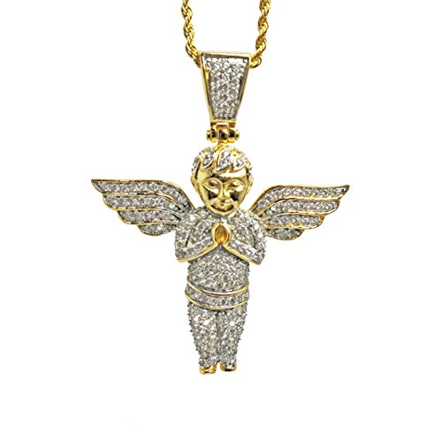 (Mini Gold Baby Angel Piece Pendant and Rope Chain Necklace)