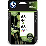 HP 63 | 2 Ink Cartridges | Black, Tri-color | F6U61AN, F6U62AN
