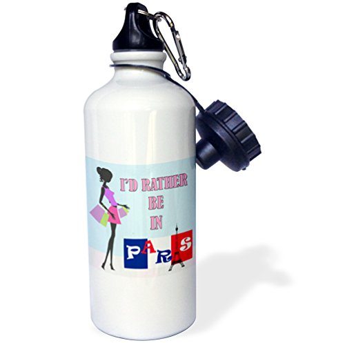 (3dRose Id Rather be in Paris. France. French Flag-Sports Water Bottle, 21oz (wb_216269_1)), 21 oz Multicolor)