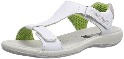 Manitu 910586 - sandalias abiertas de cuero mujer blanco - Weiß (Weiss)