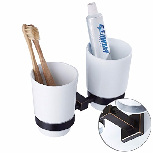 LAONA American black full Copper Quad Base Bathroom Wall is set single double bar toilet paper holder Toilet brush, Double Cup