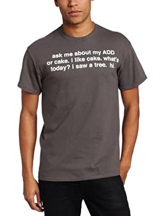 T-Line Men's Humor Ask Me About Add T-Shirt, Grey, X-Large