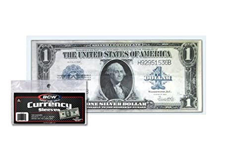 90 SEMI-RIGID Vinyl Money Protector Sleeves US Dollar Bill CURRENCY HOLDERS BCW