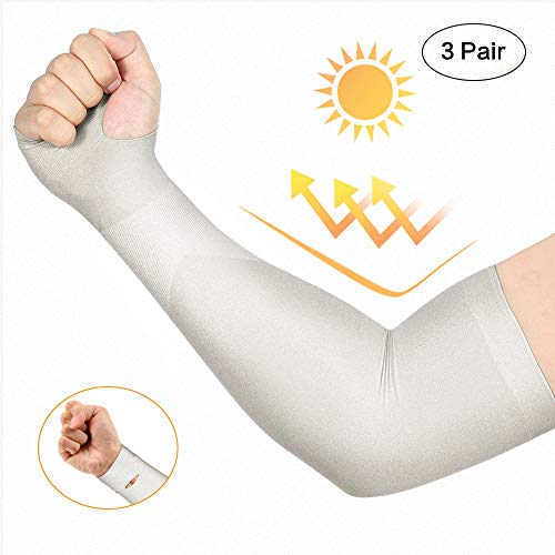 isnowood 3 Pairs Long Cooling Arm Sleeves UV Sun Protection for Men Woman Kids - Sweat Absorbing Dry Fit for Driving/Fishing/ Running/Outdoors Long Arm Cover Sleeves