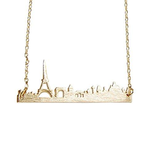 Art Attack Goldtone Paris France City French Skyline Cityscape Eiffel Tower Outline Pendant Necklace -