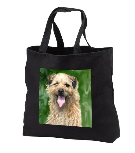 (Dogs Border Terrier - Border Terrier - Tote Bags - Black Tote Bag 14w x 14h x 3d (tb_4426_1))