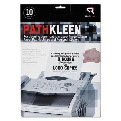 Read Right PathKleen Laser Printer Cleaning Sheets, 8.5 x 11 Inches Sheets, 10 Sheets per Package, 2 Pack, 20 Sheets Total (RR1237)
