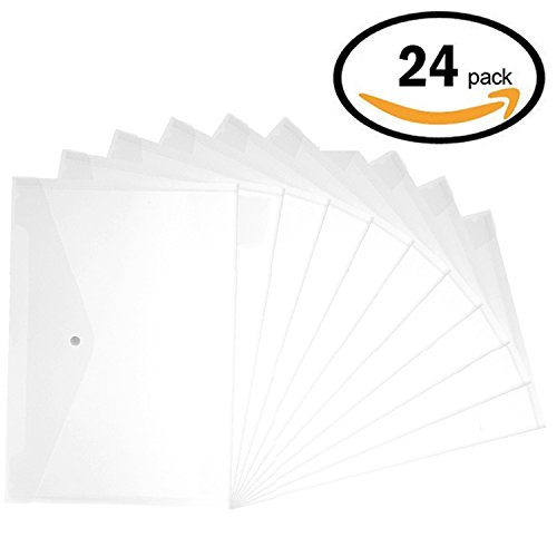 Plastic Envelopes with Snap Closure - 24Pack Clear Poly Envelopes Folders Plastic Folders Premium Quality Document Folder A4 by Apoulin