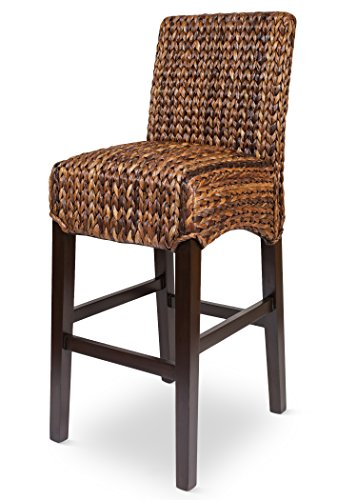 BIRDROCK HOME Bird Rock Seagrass Barstool (Bar Height) | Hand Woven | Mahogany Wood Frame | Fully Assembled (Stool Seagrass)