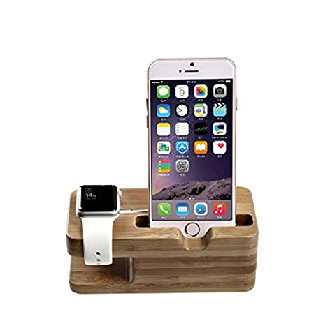 Apple Watch Stand, TROND AC3 Bamboo Dual Charging Stand Cradle Holder for Apple Watch / Sport / Edition (38mm & 42mm) and iPhone 5 / 5C / 5S / 6 / 6 (12 South Iphone 6 Plus Dock)