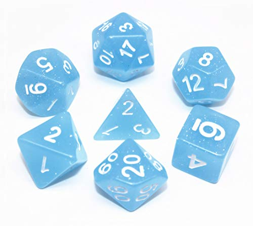Polyhedral Dice Set Double Colour Gem Series DND RPG Dice Fit Dungeons and Dragons Pathfinder MTG Table Game Role Playing Game with Dice Pouch (Light Blue) ()