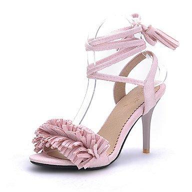 LvYuan Mujer-Tacón Stiletto-Zapatos del club-Sandalias-Oficina y Trabajo Vestido Fiesta y Noche-Sintético Vellón-Negro Rosa Rojo Gris gray