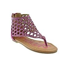 Seren 13K Little Girls Rhinestone Thong Flat Gladiator Sandals Fushia